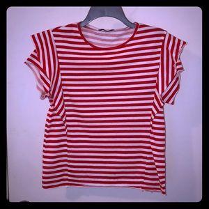 *LIKE NEW* Zara Striped Ruffle Sleeved Tee